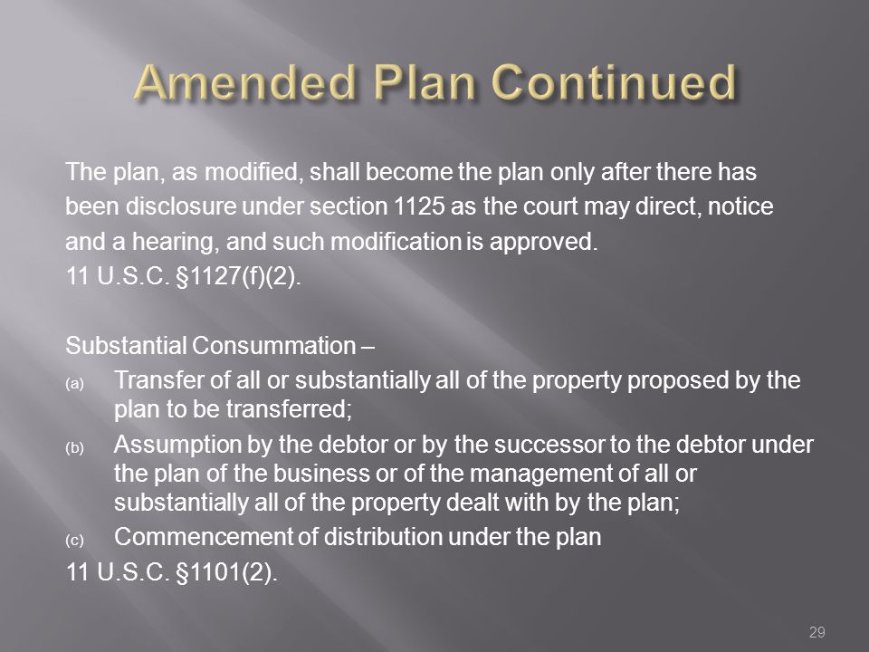 The plan, as modified, shall become the plan only after there has been disclosure under section 1125 as the court may direct, notice and a hearing, and such modification is approved.
