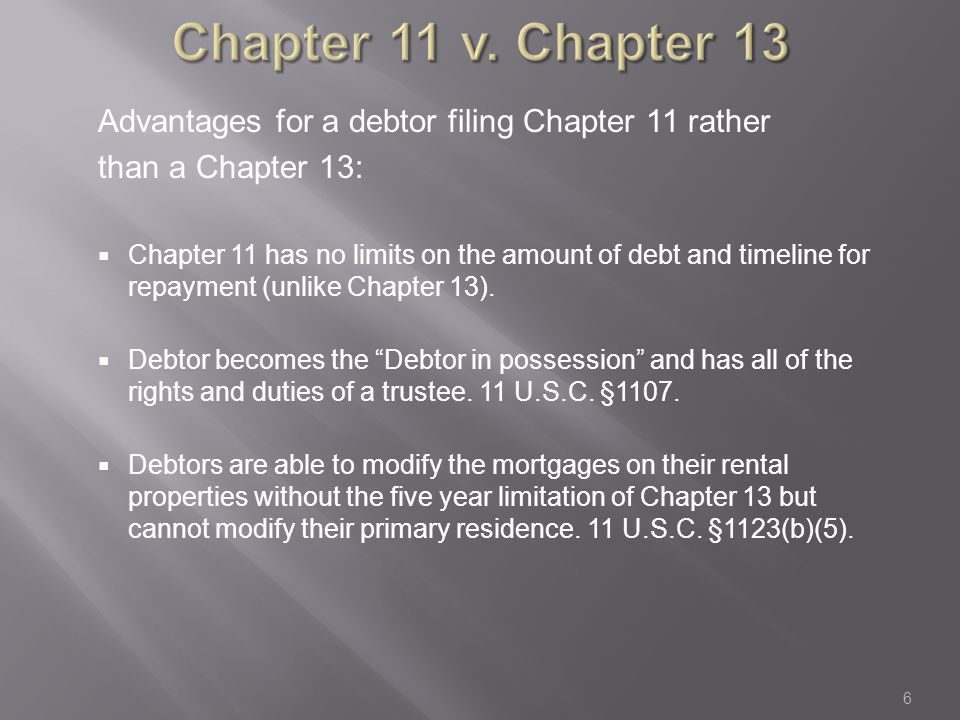 Automatic Stay Just like in Chapters 13 and 7:  Filing Chapter 11 invokes the Automatic Stay preventing creditors from collecting debts.