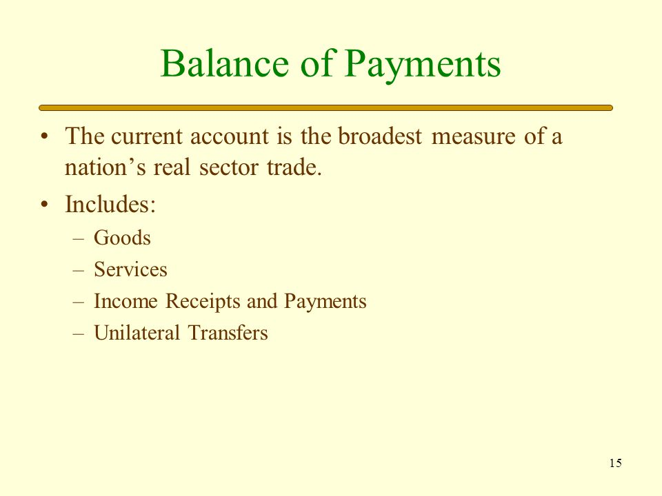 16 Current Account Goods: Exports and imports of tangible items.