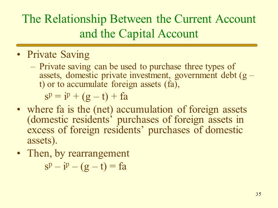 36 The Relationship Between the Current Account and the Capital Account Putting the two together: ca = s p – i p – (g – t) = fa In words, private domestic saving less private domestic investment less the fiscal balance (government saving) equals the current account balance, which also equals the (net) accumulation of foreign assets.