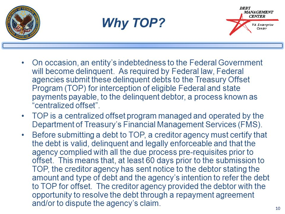 10 Why TOP. On occasion, an entity's indebtedness to the Federal Government will become delinquent.