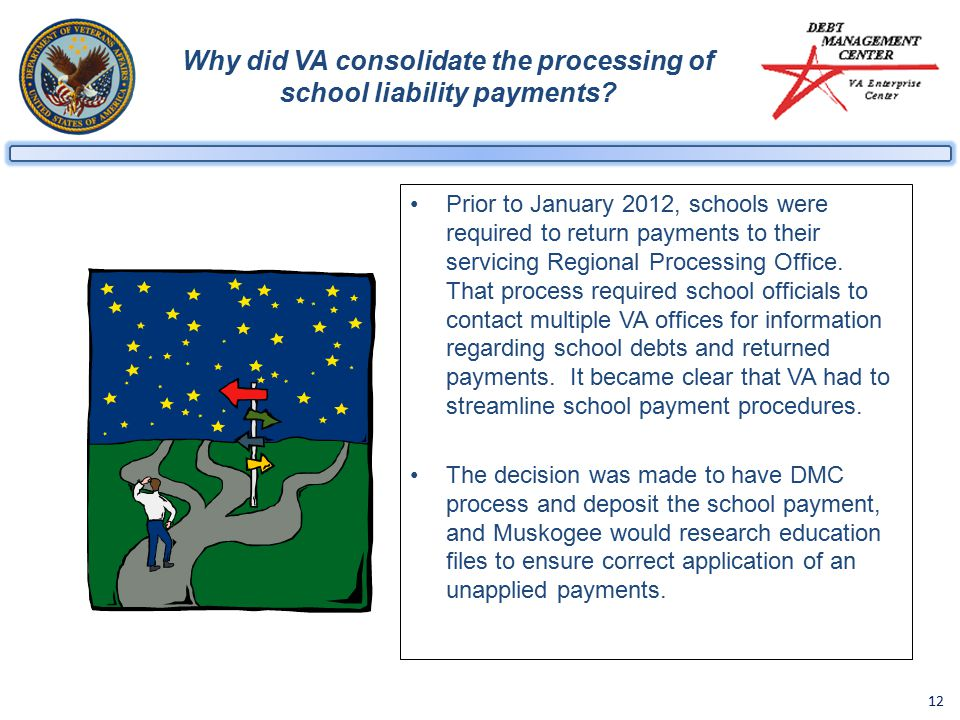 12 Why did VA consolidate the processing of school liability payments.