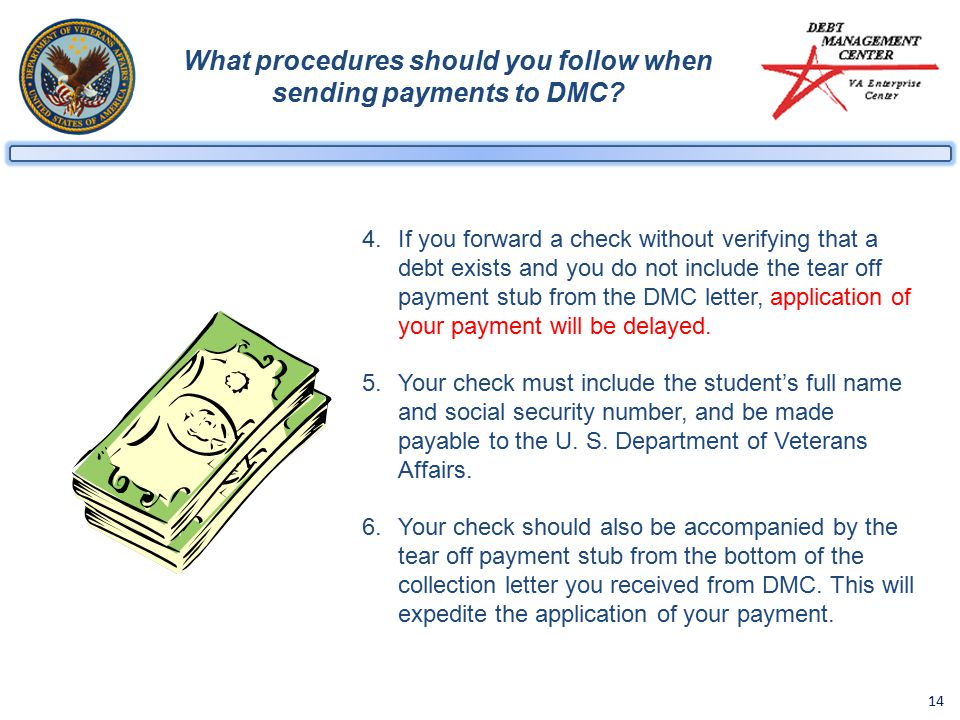 14 What procedures should you follow when sending payments to DMC.