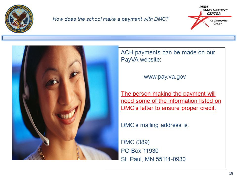 18 How does the school make a payment with DMC.