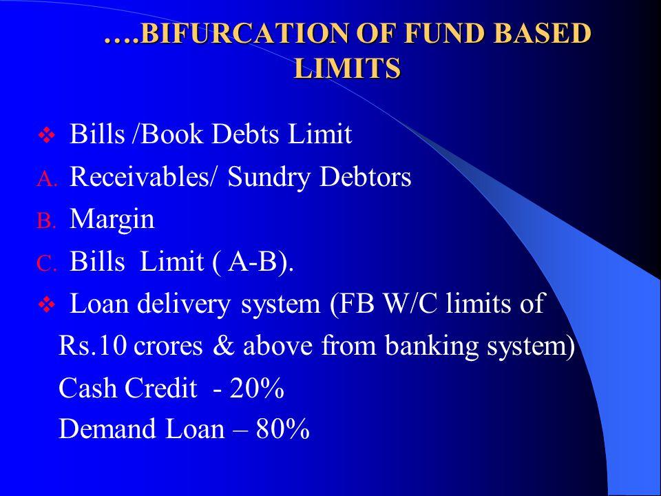 ….BIFURCATION OF FUND BASED LIMITS  Bills /Book Debts Limit A. Receivables/ Sundry Debtors B. Margin C. Bills Limit ( A-B).  Loan delivery system (F