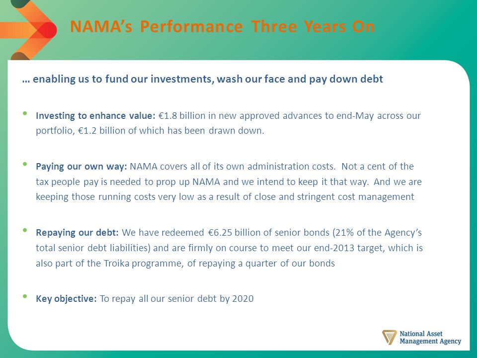 NAMA's Performance Three Years On … enabling us to fund our investments, wash our face and pay down debt Investing to enhance value: €1.8 billion in new approved advances to end-May across our portfolio, €1.2 billion of which has been drawn down.