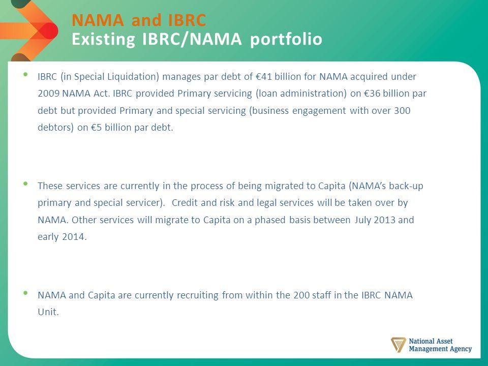 NAMA and IBRC Existing IBRC/NAMA portfolio IBRC (in Special Liquidation) manages par debt of €41 billion for NAMA acquired under 2009 NAMA Act.