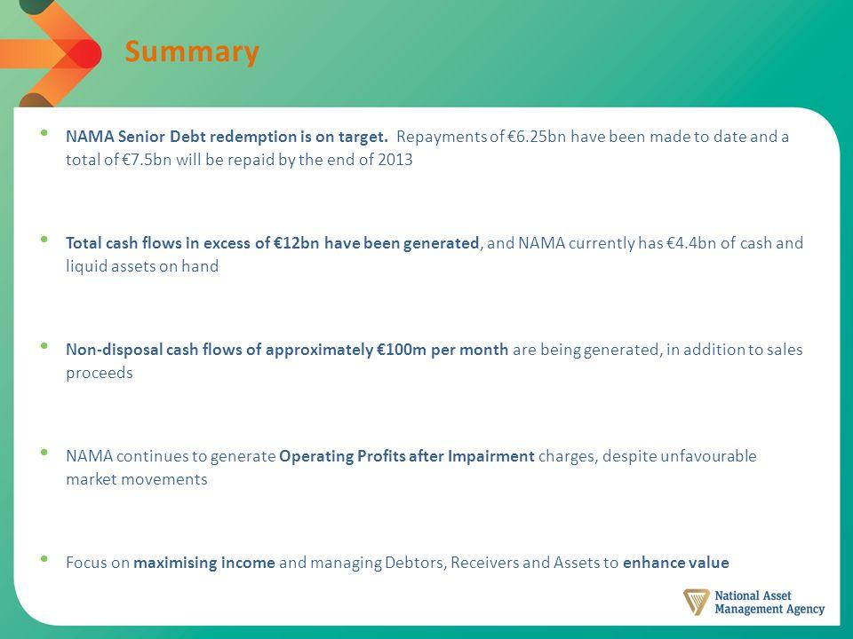 Summary NAMA Senior Debt redemption is on target.