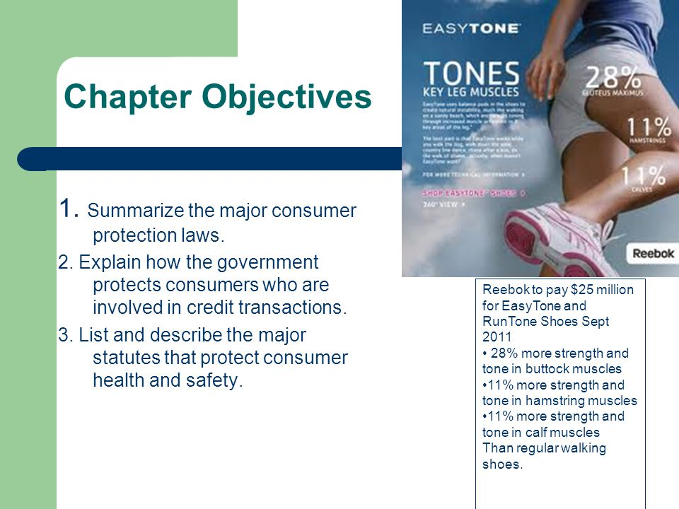 Chapter Objectives 1. Summarize the major consumer protection laws.