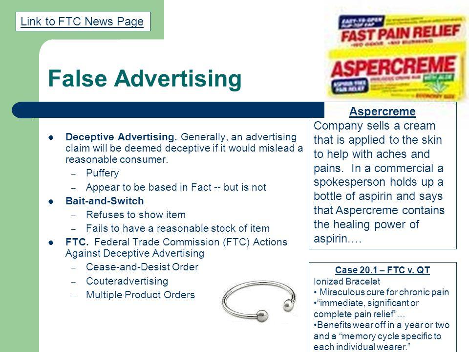 False Advertising Deceptive Advertising.