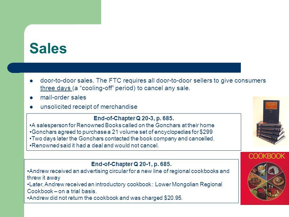 Sales door-to-door sales.
