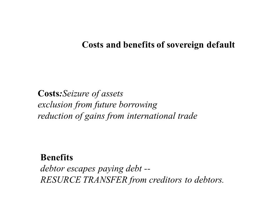 Costs and benefits of sovereign default Costs:Seizure of assets exclusion from future borrowing reduction of gains from international trade Benefits d
