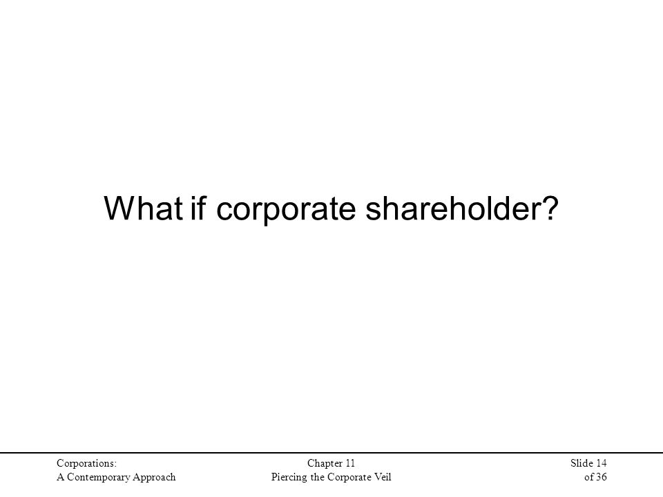 Corporations: A Contemporary Approach Chapter 11 Piercing the Corporate Veil Slide 14 of 36 What if corporate shareholder