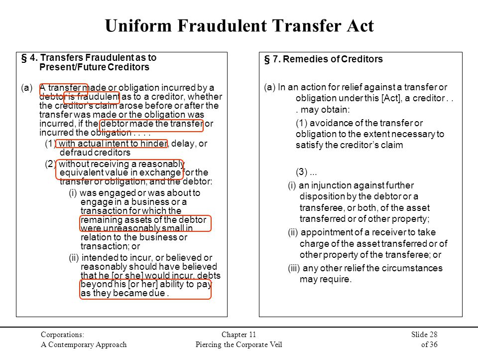 Corporations: A Contemporary Approach Chapter 11 Piercing the Corporate Veil Slide 28 of 36 Uniform Fraudulent Transfer Act § 4.