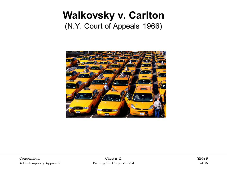 Corporations: A Contemporary Approach Chapter 11 Piercing the Corporate Veil Slide 9 of 36 Walkovsky v. Carlton (N.Y. Court of Appeals 1966)