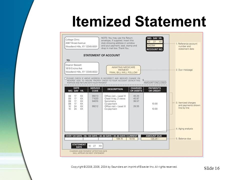 Slide 16 Copyright © 2008, 2006, 2004 by Saunders an imprint of Elsevier Inc. All rights reserved. Itemized Statement