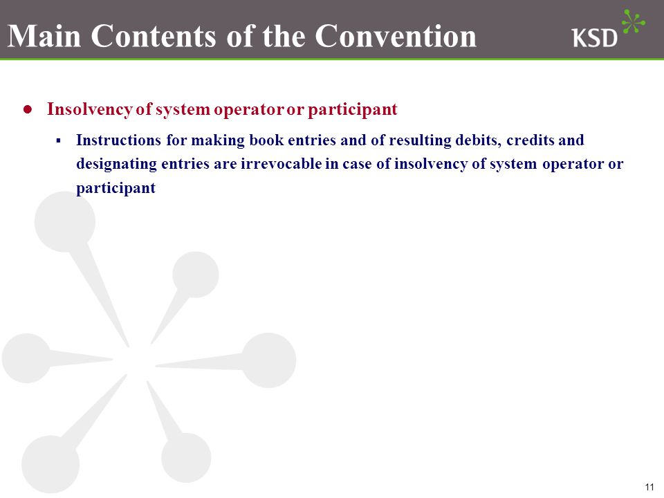 11 Main Contents of the Convention Insolvency of system operator or participant  Instructions for making book entries and of resulting debits, credits and designating entries are irrevocable in case of insolvency of system operator or participant