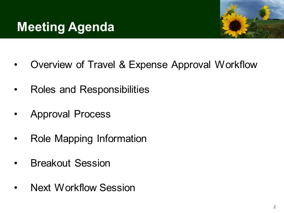Meeting Agenda Overview of Travel & Expense Approval Workflow Roles and Responsibilities Approval Process Role Mapping Information Breakout Session Next Workflow Session 2
