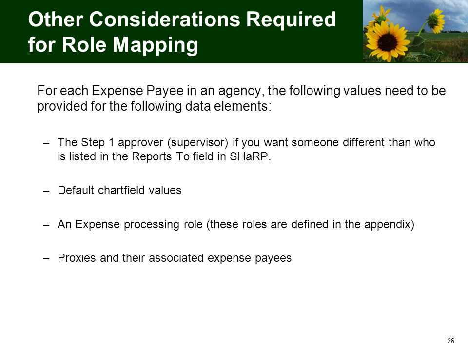 Other Considerations Required for Role Mapping For each Expense Payee in an agency, the following values need to be provided for the following data elements: –The Step 1 approver (supervisor) if you want someone different than who is listed in the Reports To field in SHaRP.