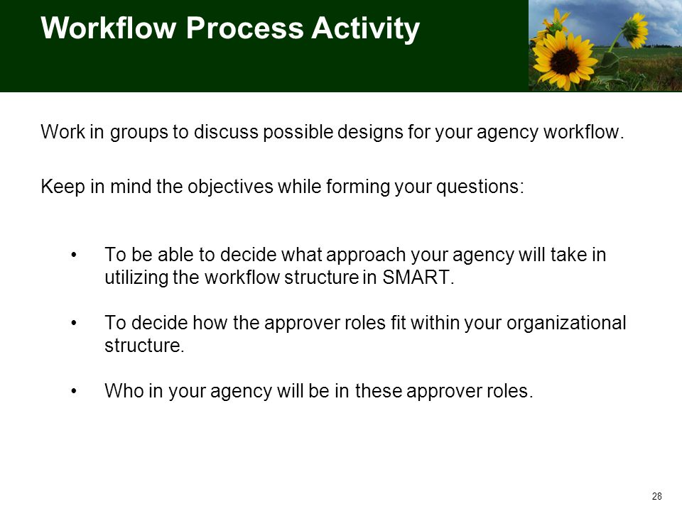 Workflow Process Activity Work in groups to discuss possible designs for your agency workflow.