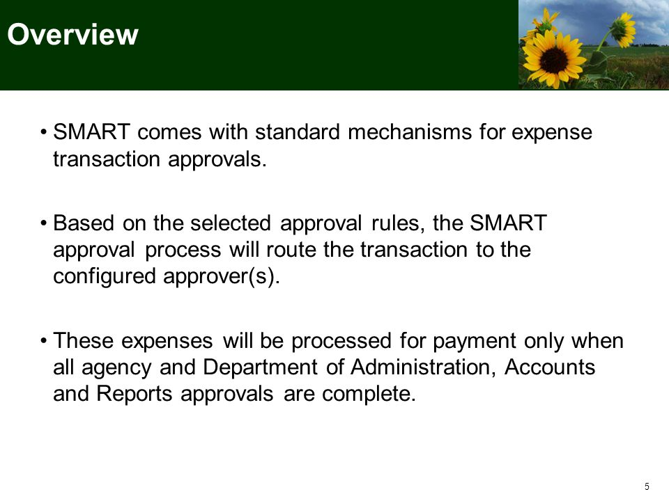 Overview SMART comes with standard mechanisms for expense transaction approvals.