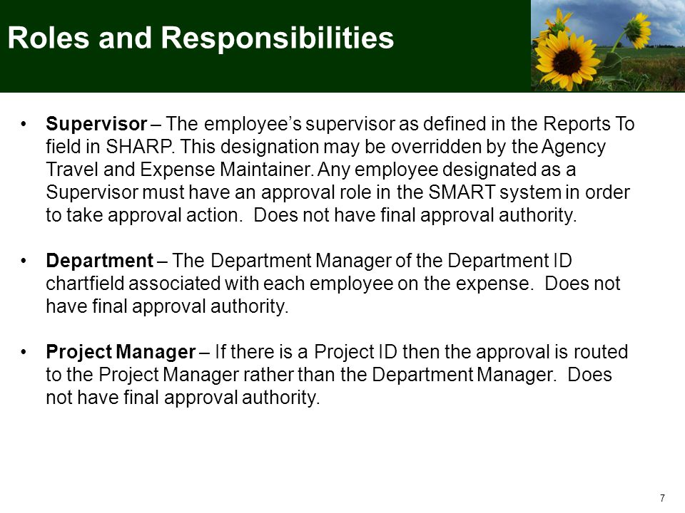 Supervisor – The employee's supervisor as defined in the Reports To field in SHARP.