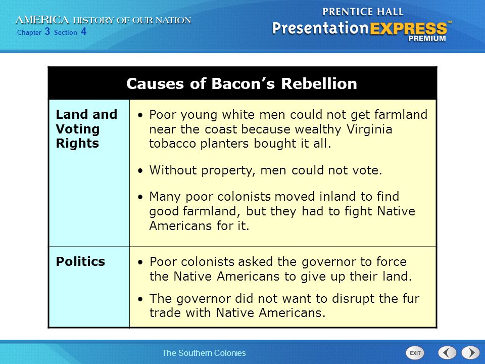 Chapter 3 Section 4 The Southern Colonies Causes of Bacon's Rebellion Land and Voting Rights Poor young white men could not get farmland near the coas