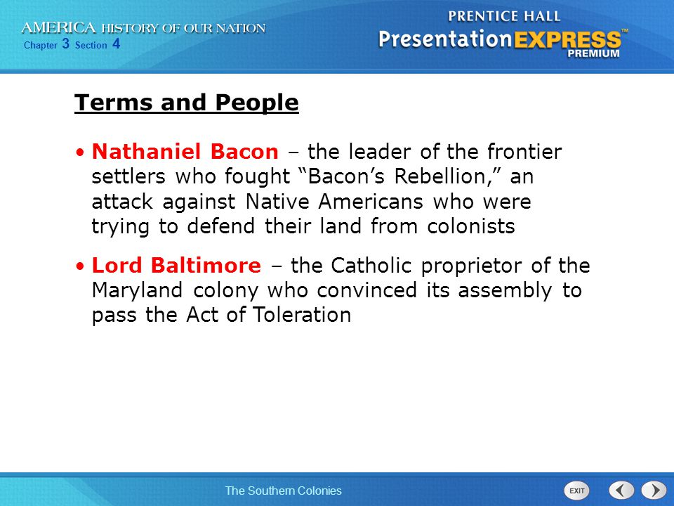 Chapter 3 Section 4 The Southern Colonies Terms and People (continued) James Oglethorpe – a wealthy Englishman who founded the colony of Georgia, where English debtors would be protected debtor – a person who owes money plantation – a large farm