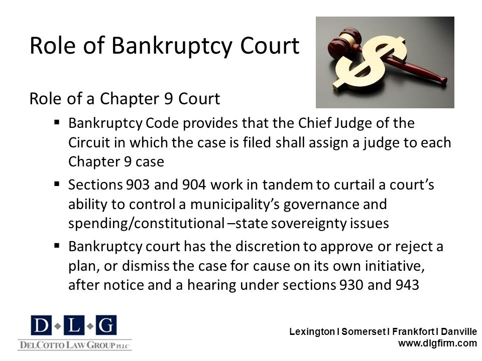 Lexington I Somerset I Frankfort I Danville www.dlgfirm.com Role of Bankruptcy Court Role of a Chapter 9 Court  Bankruptcy Code provides that the Chi