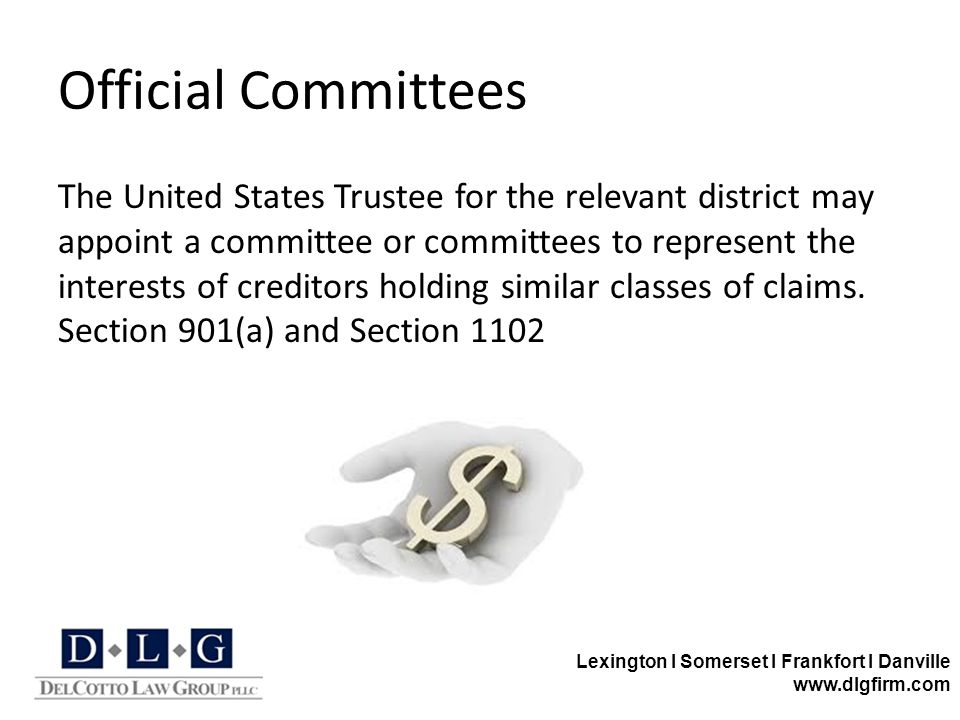 Lexington I Somerset I Frankfort I Danville www.dlgfirm.com Official Committees The United States Trustee for the relevant district may appoint a comm