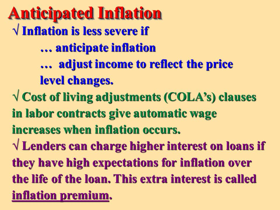 Inflation Premium—the expected rate of inflation Anticipated Inflation = + 11% 5% 6% Nominal Interest Rate Real Interest Rate Interest Premium