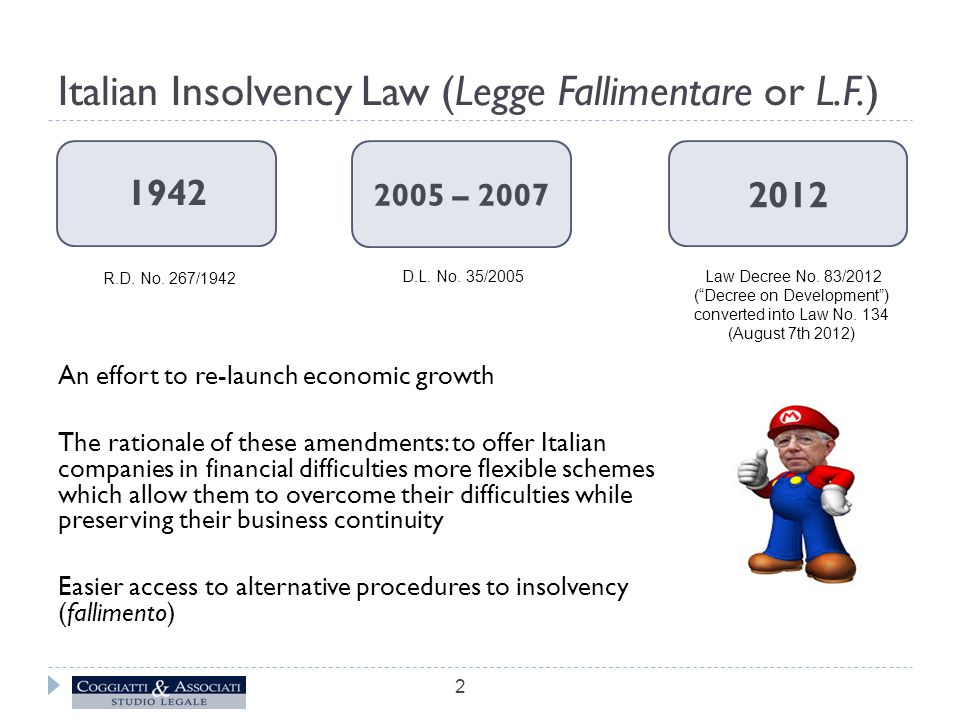 Italian Insolvency Law (Legge Fallimentare or L.F.) An effort to re-launch economic growth The rationale of these amendments: to offer Italian companies in financial difficulties more flexible schemes which allow them to overcome their difficulties while preserving their business continuity Easier access to alternative procedures to insolvency (fallimento) 1942 2005 – 2007 2012 R.D.