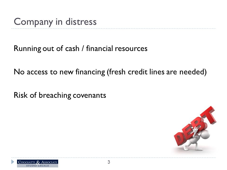 Alternative procedures to insolvency Pre-insolvency creditor arrangements Possible solutions (depending on the seriousness of the crisis): a) Judicial composition with creditors (Art.