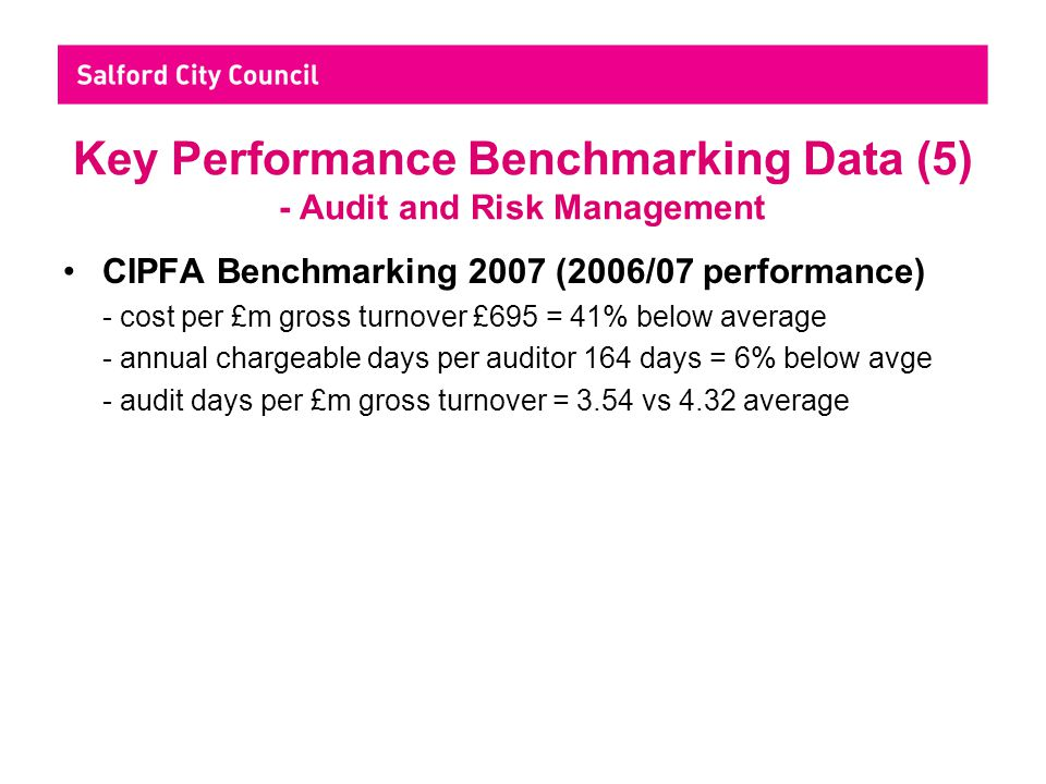 Key Performance Benchmarking Data (5) - Audit and Risk Management CIPFA Benchmarking 2007 (2006/07 performance) - cost per £m gross turnover £695 = 41