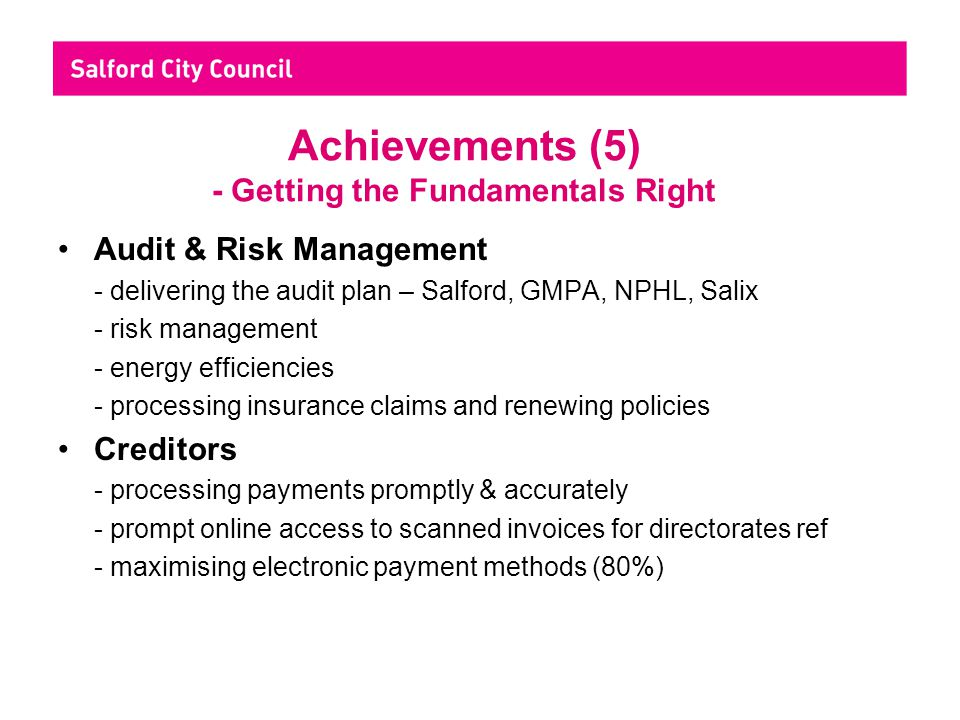 Achievements (5) - Getting the Fundamentals Right Audit & Risk Management - delivering the audit plan – Salford, GMPA, NPHL, Salix - risk management -