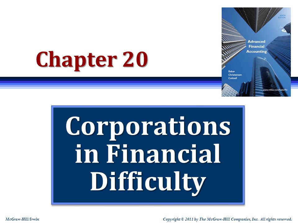 20-22 Chapter 11 Reorganizations  Companies not qualifying for fresh start accounting should: Recognize a liability for a cost associated with an exit or disposal activity when the liability is incurred, not at the earlier time the company makes a commitment to an exit plan LT assets are divided between 1.Those to be held and used and 2.Those to be sold