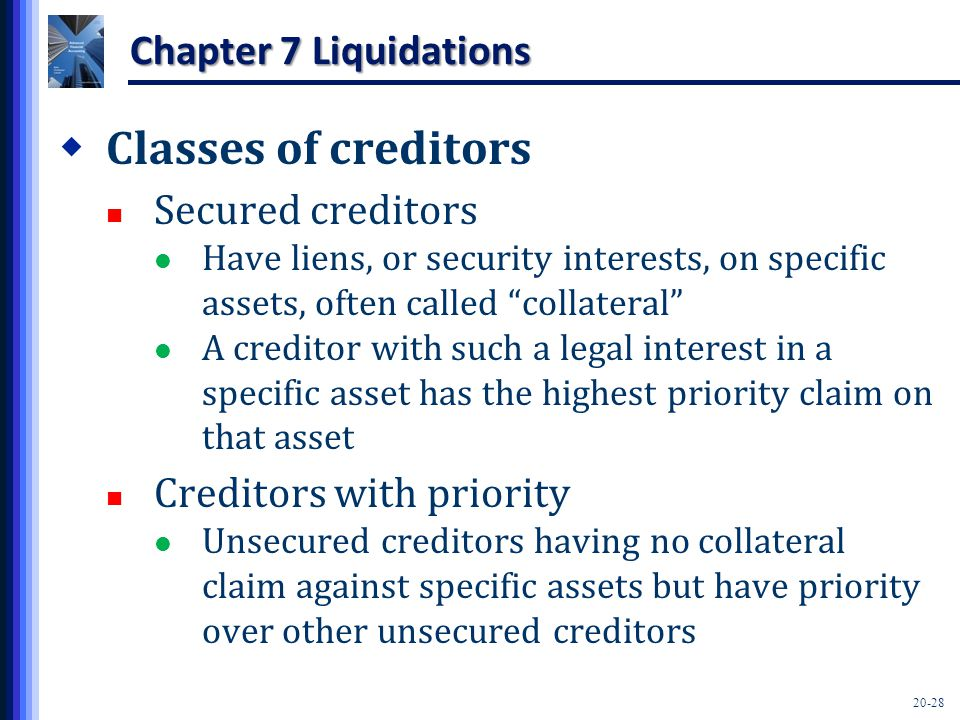 20-28 Chapter 7 Liquidations  Classes of creditors Secured creditors Have liens, or security interests, on specific assets, often called collateral A creditor with such a legal interest in a specific asset has the highest priority claim on that asset Creditors with priority Unsecured creditors having no collateral claim against specific assets but have priority over other unsecured creditors