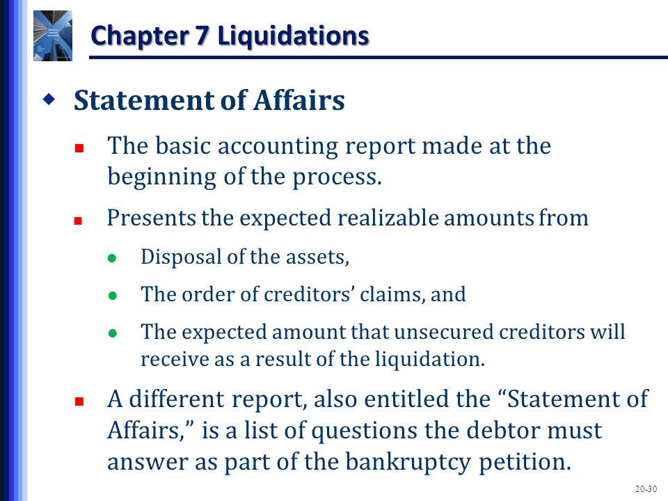 20-30 Chapter 7 Liquidations  Statement of Affairs The basic accounting report made at the beginning of the process.