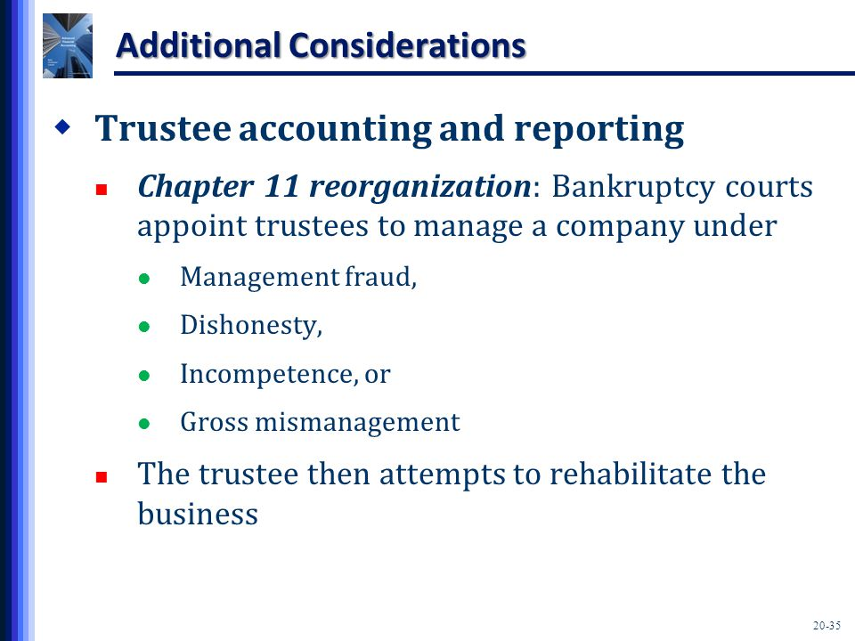 20-35 Additional Considerations  Trustee accounting and reporting Chapter 11 reorganization: Bankruptcy courts appoint trustees to manage a company under Management fraud, Dishonesty, Incompetence, or Gross mismanagement The trustee then attempts to rehabilitate the business