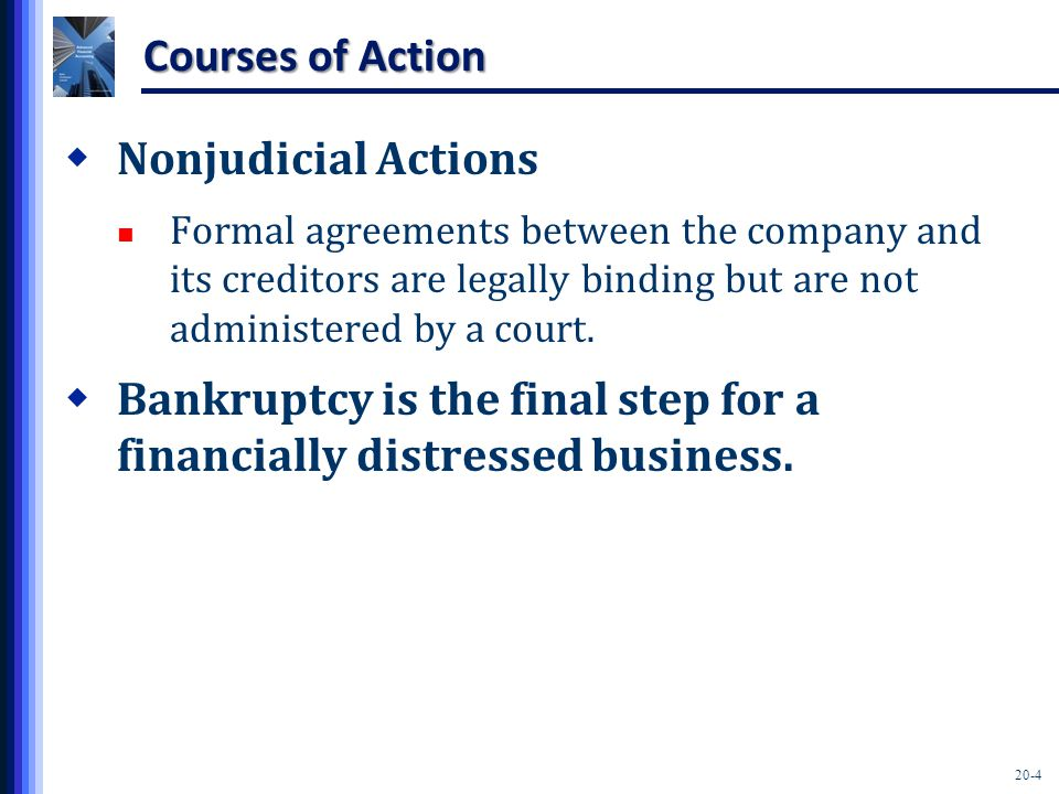 20-5 Nonjudicial Actions  Debt Restructuring Arrangements Extension of due dates of its debt Decrease of the interest rate on the debt Modification of other terms of the debt contract  Composition agreement Creditors agree to accept less than the face amount of their claims