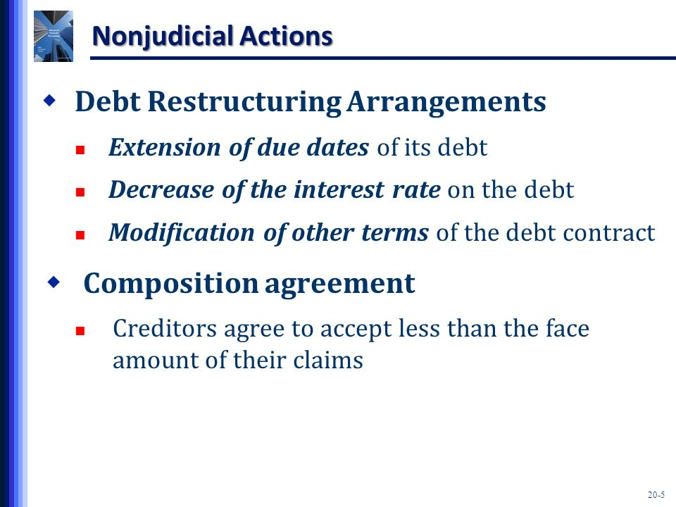 20-6 Nonjudicial Actions  Creditors' committee management Creditors may agree to assist the debtor in managing the most efficient payment of creditors' claims.
