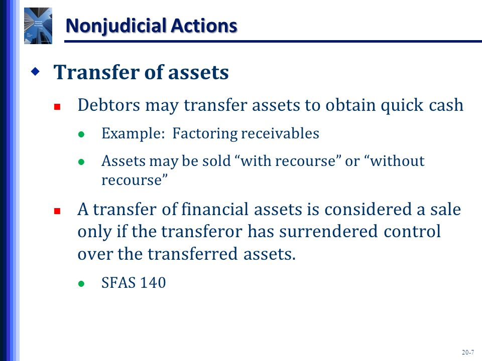 20-7 Nonjudicial Actions  Transfer of assets Debtors may transfer assets to obtain quick cash Example: Factoring receivables Assets may be sold with recourse or without recourse A transfer of financial assets is considered a sale only if the transferor has surrendered control over the transferred assets.