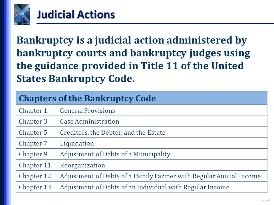 20-8 Judicial Actions Bankruptcy is a judicial action administered by bankruptcy courts and bankruptcy judges using the guidance provided in Title 11