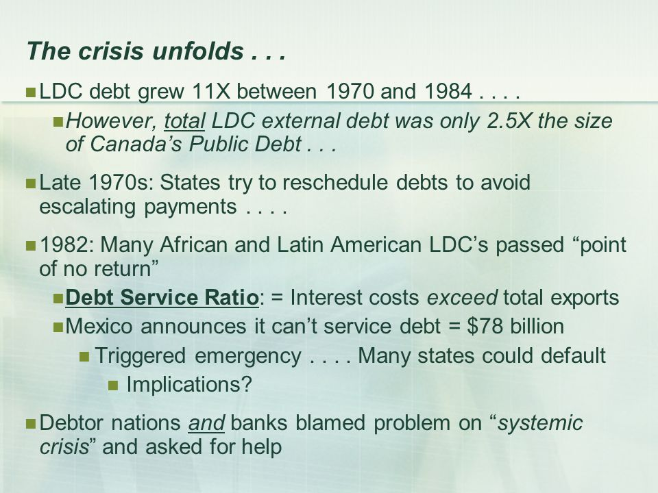 The crisis unfolds... LDC debt grew 11X between 1970 and 1984....