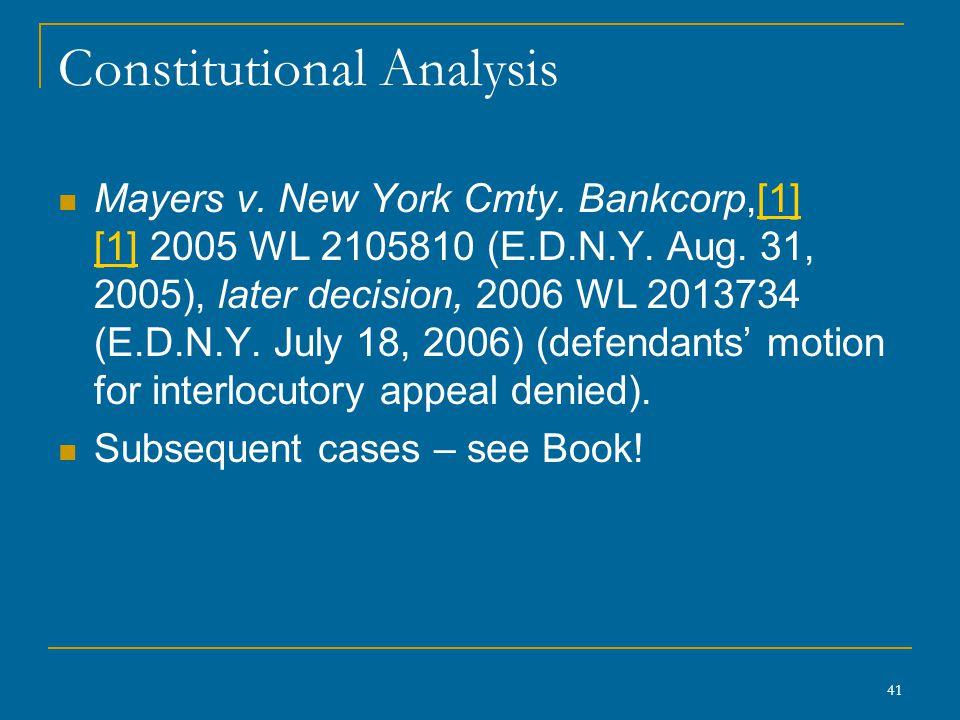 41 Constitutional Analysis Mayers v. New York Cmty.