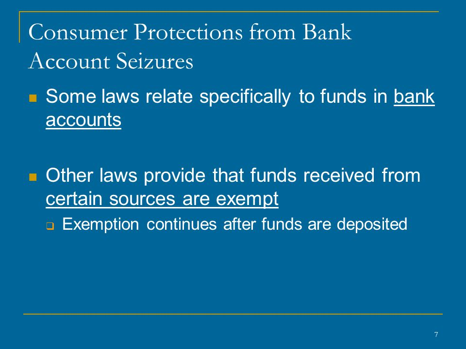 48 Federal Limitation on Bank Set-Off of Credit Card Debt Truth in Lending Act (TILA) card issuer can not take funds out of a deposit account to satisfy a credit card debt except under an automatic payment plan previously authorized by the cardholder in writing.