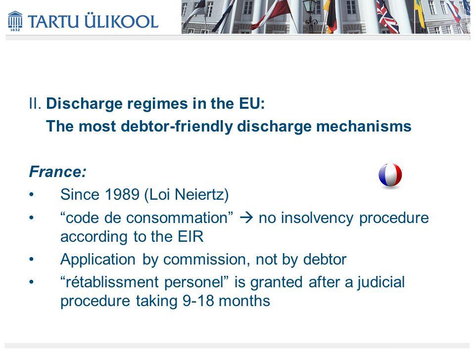 "II. Discharge regimes in the EU: The most debtor-friendly discharge mechanisms France: Since 1989 (Loi Neiertz) ""code de consommation""  no insolvency"