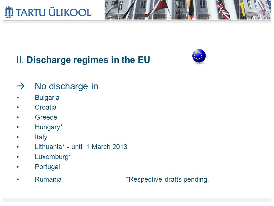 II. Discharge regimes in the EU  No discharge in Bulgaria Croatia Greece Hungary* Italy Lithuania* - until 1 March 2013 Luxemburg* Portugal Rumania*R