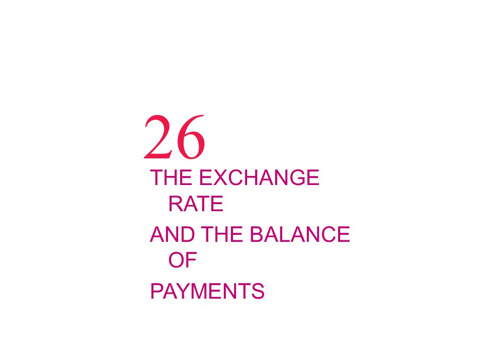 26 THE EXCHANGE RATE AND THE BALANCE OF PAYMENTS