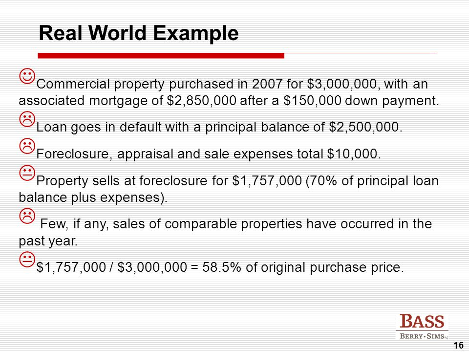 16 Real World Example Commercial property purchased in 2007 for $3,000,000, with an associated mortgage of $2,850,000 after a $150,000 down payment. 